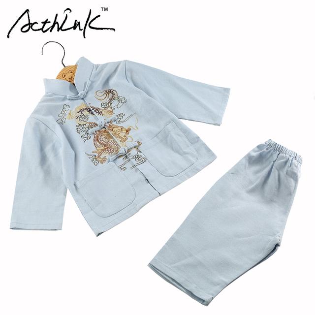 ActhInK Baby Boys Dragón Bordado de Algodón y Lino Han de Ropa China Marca Niños Retro Estilo Chino Traje Ropa Set, MC117