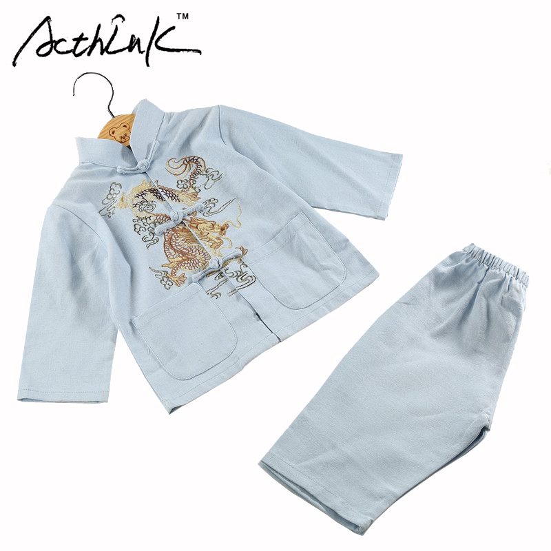 ActhInK Baby Boys Dragon Embroidery Cotton&Linen Han Chinese Clothing Brand Kids Retro Chinese Style Costume Clothing Set, MC117 arts clothing embroidery dragon nanquan performing dragon sleeveless clothes made of men