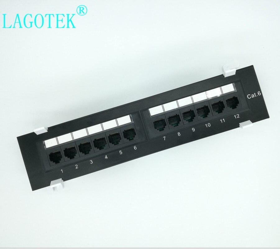 Сетевой 12 портовый CAT6 патч-панель RJ45 сетевой настенный кронштейн для монтажа в стойку Настенный монтаж