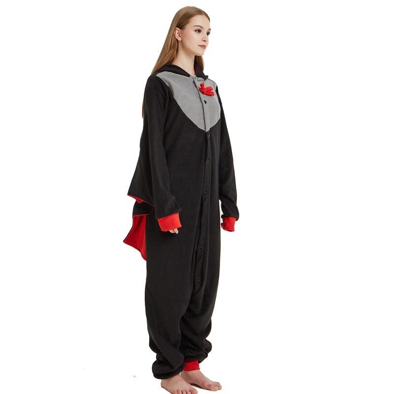 Cool Bat Polar Fleece Kigurumi Pajamas Overall Costume Warm Cartoon Onesie For Adult Halloween Carnival Masquerade Cosplay Party
