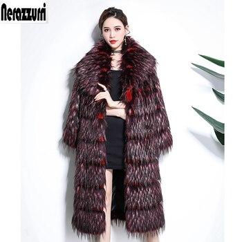 Nerazzurri Winter long faux fur coat women thick warm patchwork plus size striped shaggy furry  fake red fox fur jacket 5xl 6xl