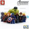 8 unids Shen Yuan SY271 The Avengers Hulk Ironman Edad de Ultron Compatible Figura de Acción Building Block Ladrillo
