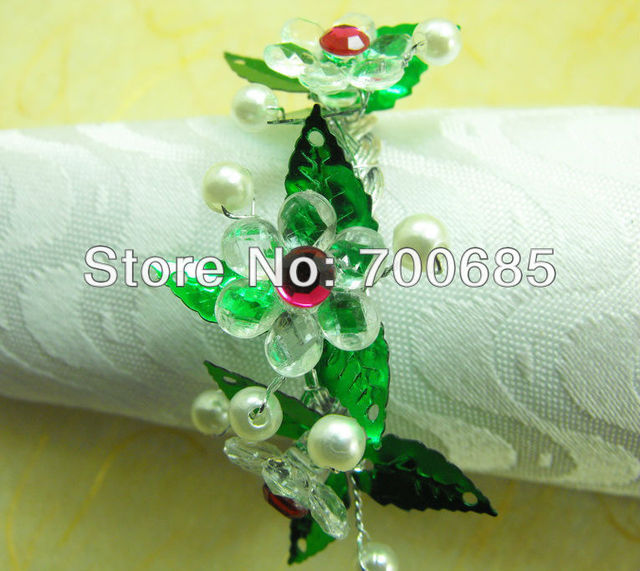 glass beades flower bulk napkin ring clear acrylic diamond wedding