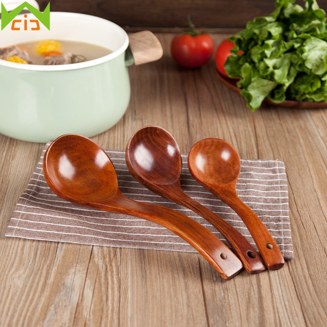 WCIC Handmade Wood Spoons Soup Ladle Nature Wooden Cooking Scoop Catering  Tableware Long Handle Wooden Spoon