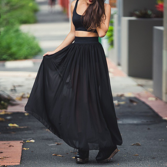 2015 Summer Style Black Long Skirt High Waist Chiffon Maxi Skirt ...