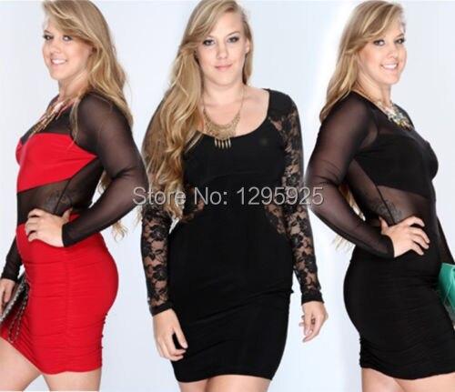aa1090d8d27 2015 New Womens Ladies Plus Size Long Sleeve Lace Top Dress UK Size 18 20  22 24 26