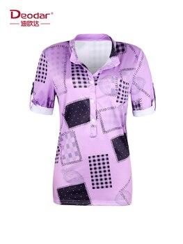 Deodar 2019 mujeres Camisa de gasa verano primavera cuello pico suelta malla costura túnica camisa talla grande S ~ 5XL mujer T camisa