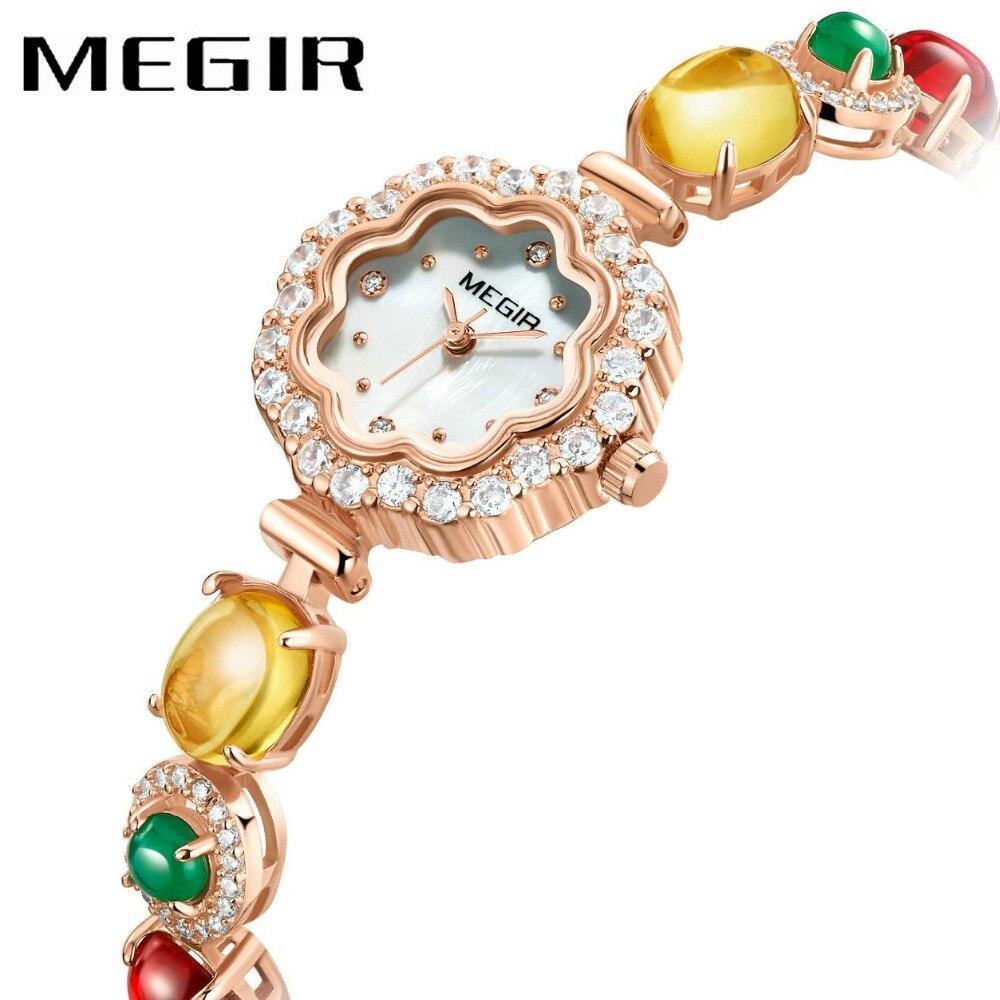 MEGIR Top Brand Luxury Women Wrist Watches Japan Quartz Movement Special Ladies Bracelets Crystal Decoration Dial Girls Watches