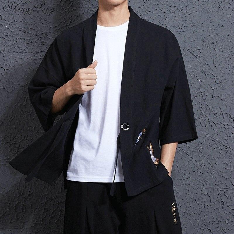 Traditionnel japonais hommes vêtements hommes yukata japon kimono hommes traditionnel chinois blouse chinois top Q034