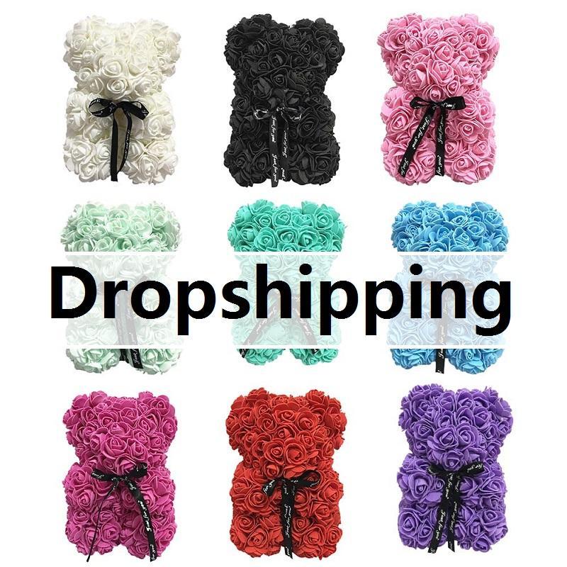 Envío rápido de San Valentín romántico caja de regalo PE oso artificiales de Rose la decoración de dibujos animados lindo novia chico regalo Dropship