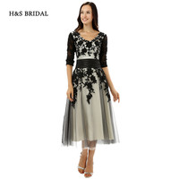 H S BRIDAL V Neck Half Long Sleeves Lace Appliques Short Prom Dresses Women Sleeved Party