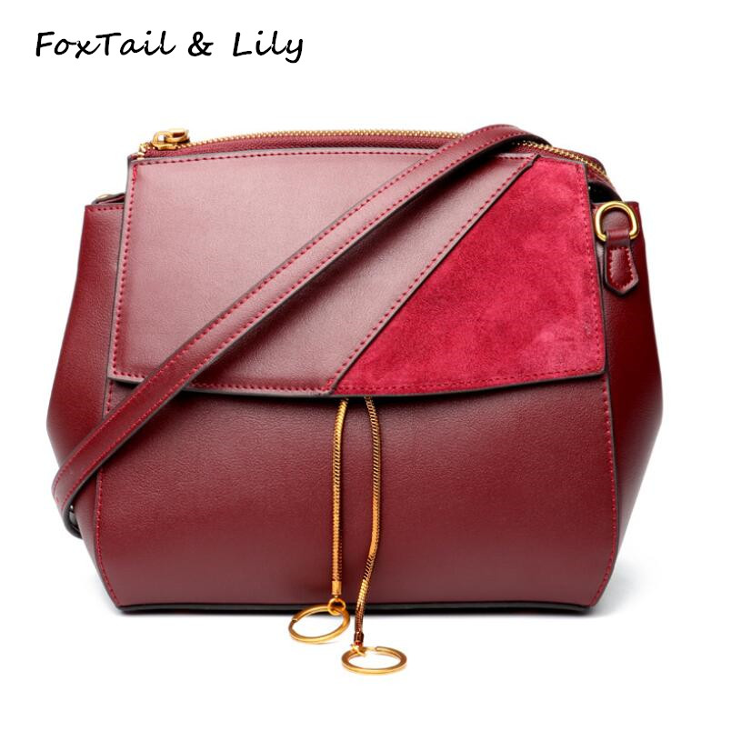 FoxTail & Lily Brand Women Genuine Leather Vintage Crossbody Bags Handbags Famous Designer Shoulder Messenger Bag Luxury Quality famous brand leather messenger bags luxury shoulder bag quilted designer handbags women black bag vintage small crossbody bags