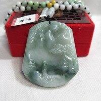 Zhe Ru ювелирные изделия чистый натуральный жадеид триколор зеленый вода зеленый кулон Гора триколор нефритовый жемчуг ожерелье отправить с