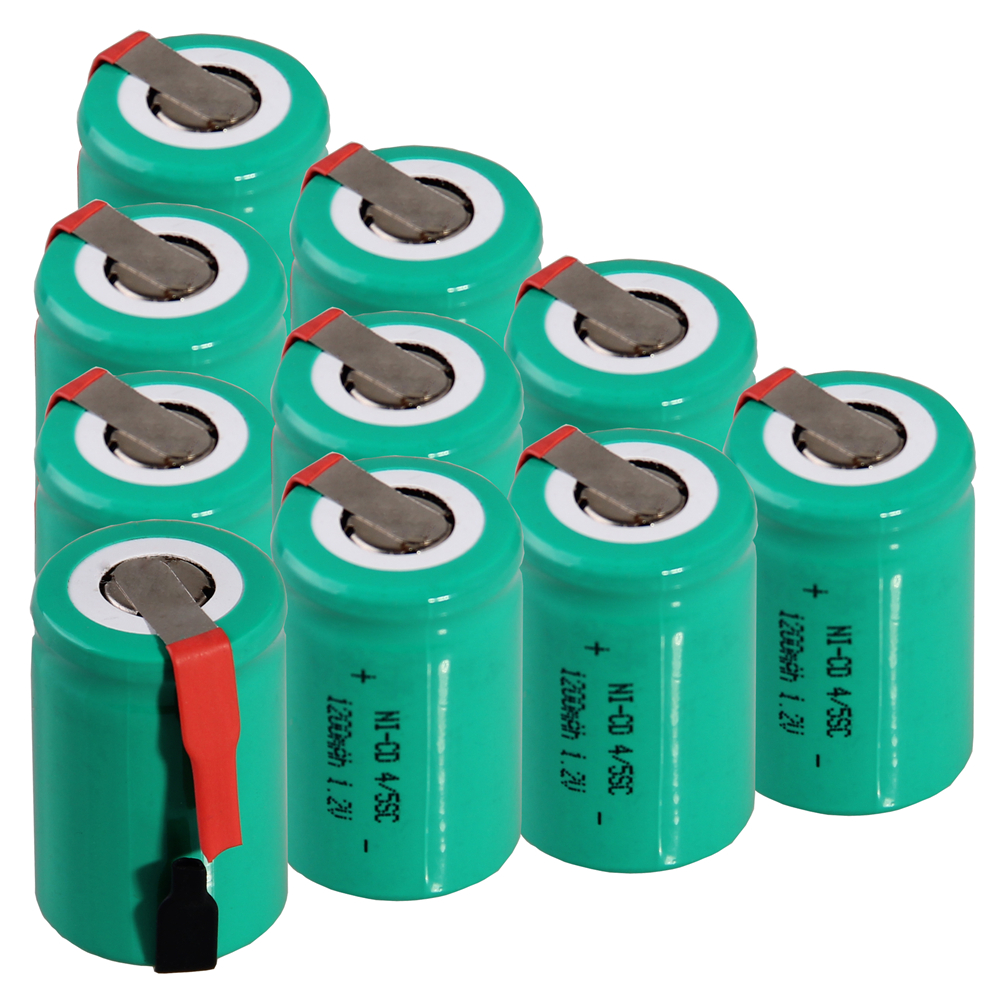 10 pcs 4/5SC 1200mah 1.2v battery NICD rechargeable batteries for electric screwdriver electric drill for emergency light toy
