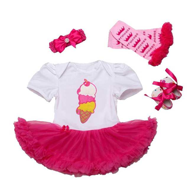 ee5b6948871 Online Shop Ice Cream Baby Girl Clothes Lace Romper Dress Headband Leg  Warmers Crib Shoes Newborn Tutu Sets Toddler Girls Summer Clothing