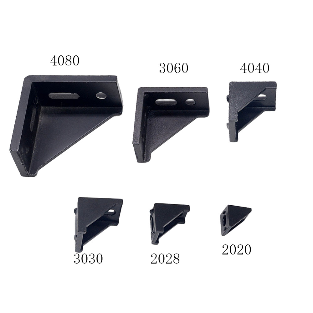2020 Corner Bracket Fitting Black Angle Aluminum Connector 2028 3030 3060 4040 4080 For Industrial Aluminum Profile