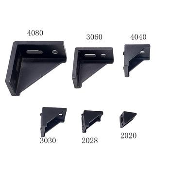 2020 uchwyt narożny montażu czarny kąt złącze aluminiowe 2028 3030 3060 4040 4080 dla przemysłowy profil aluminiowy tanie i dobre opinie Narożnych uchwytów Obróbka metali