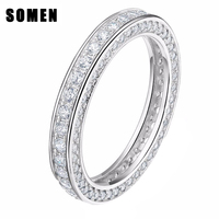 Genuine 925 Sterling Silver Rings Cubic Zirconia Engagement Wedding Band For Women Lady Fashion Jewelry