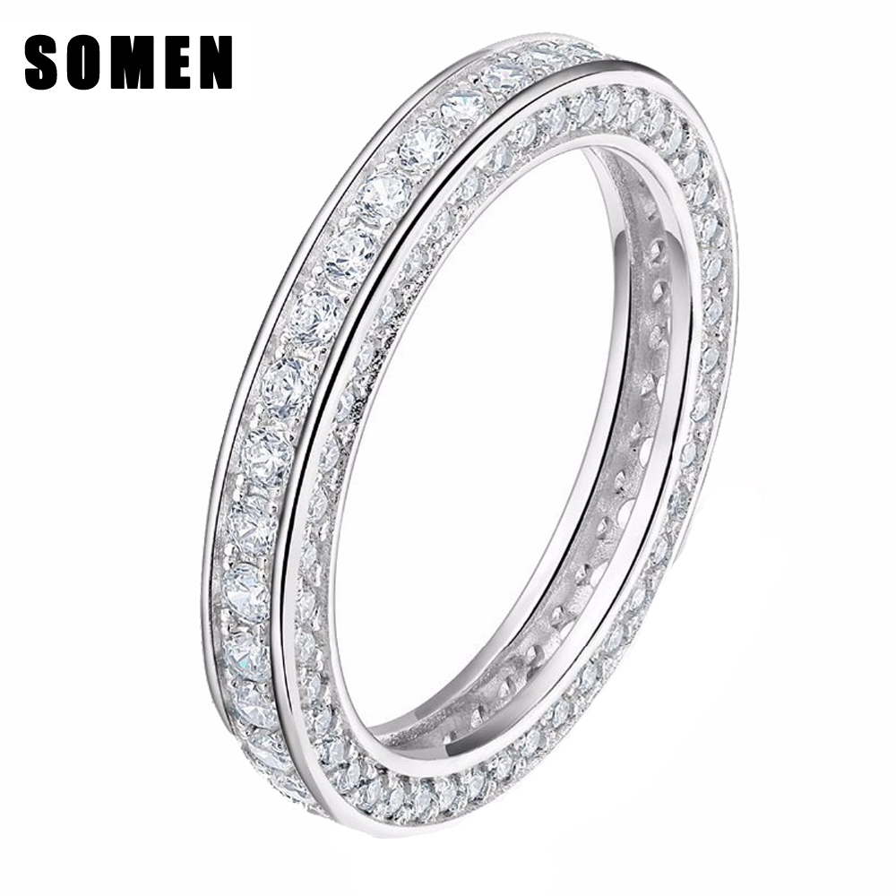Eternity Cubic Zirconia Real 925 Sterling Silver Rings