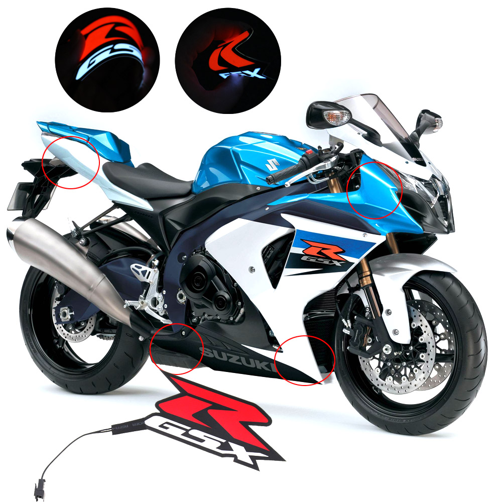 Motorcycle Fairing Kit Body Side Stickers Badge Cold Light For Suzuki GSXR 1000 750 600 GSX-R K1 K2 K3 K4 K5 K6 K7 K8 K9 K10