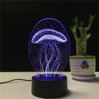 참신 선물 해파리 모양 3d 램프 밤 빛 chilren 환상 분위기 수면 테이블 램프 터치 색상 변경 빛