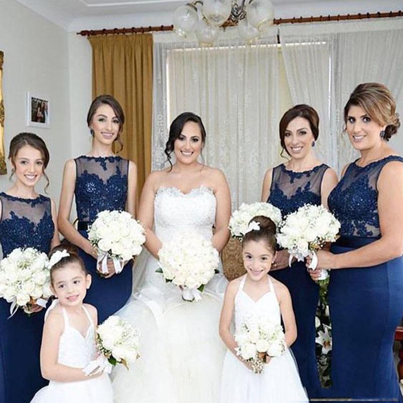 2016 Custom Made Navy Blue Bridesmaids Dresses Sexy Sheer Jewel Halter Off Shoulder Bling Beaded Lace Applique Mermaid Bridesmaid Dress Long