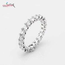 Colorfish 2.33 ct redondo corte 925 prata esterlina eternity anéis para as mulheres moda jóias conjunto completo prong 3mm sona casamento banda