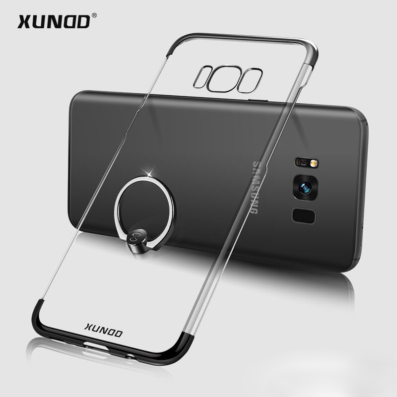 Xundd Luxury Ring Holder Case For Samsung s8 / s8 plus Transparent PC Back Cover Skin Stand Phone Case Capa