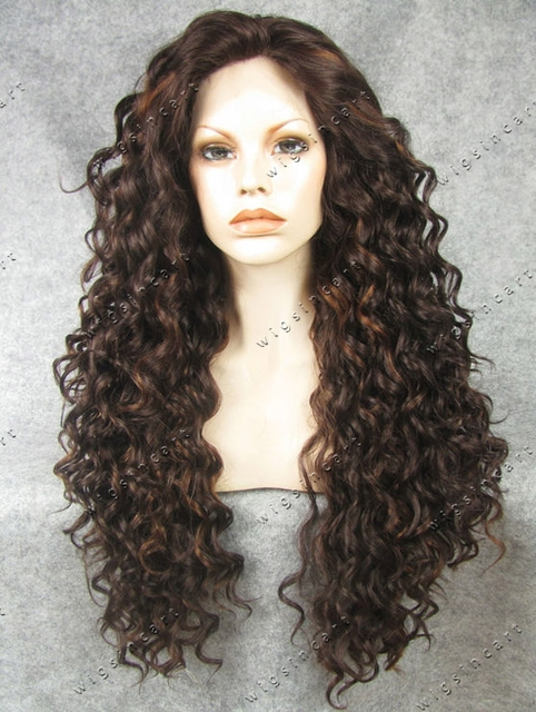 Long Brown Tipped With Blonde Synthetic Lace Front Wig Curly Hair