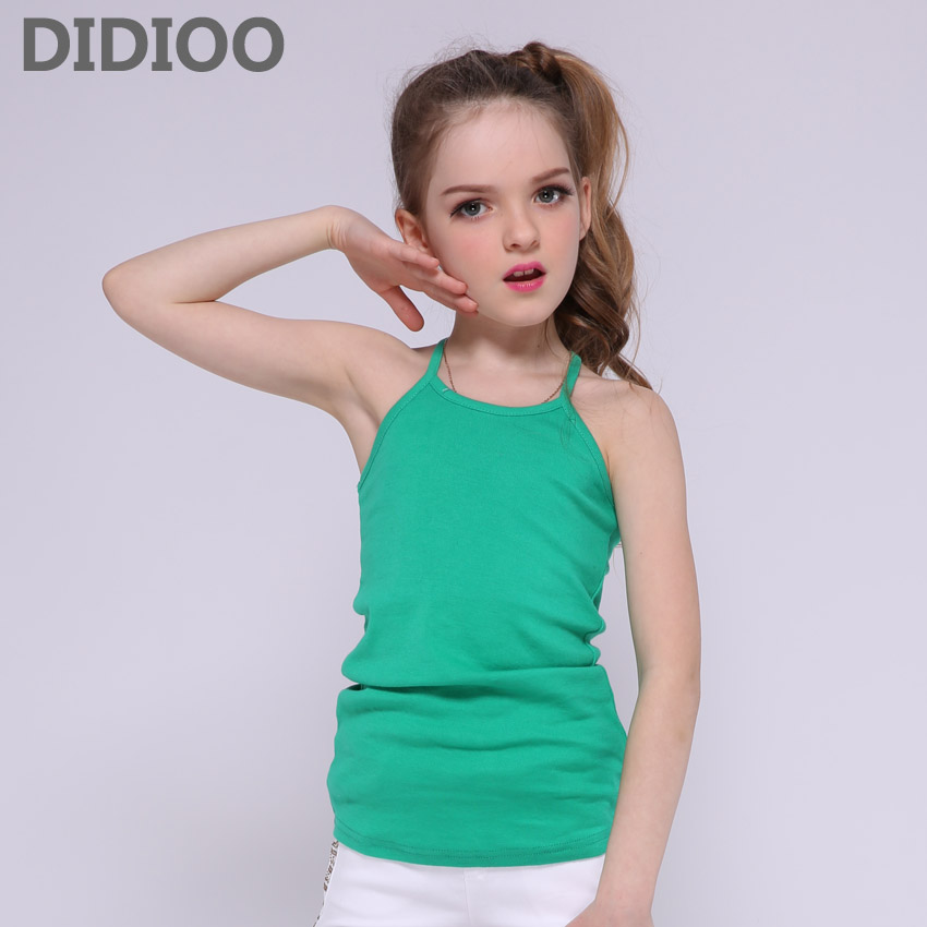Girls Tank Tops Candy Color Cotton Vests For Girls Children Clothing Summer Sleeveless T-Shirts Girls Kids Tees 4 6 8 9 10 Years elegant candy color stand collar sleeveless jumpsuit for women
