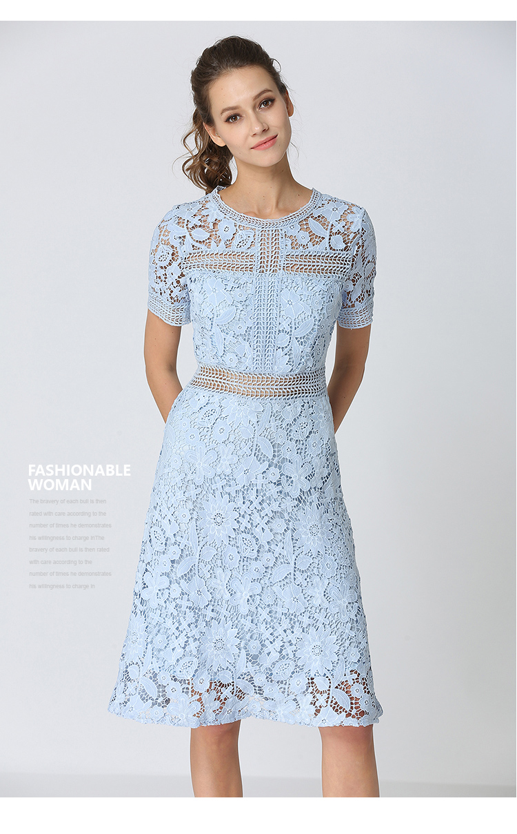Summer Hollowed Up Blue Lace Dress Dress Women Elegant Midi Party Dress Vestido Mujer Verano 2018 Ladies Dress Robe Femme K6835 7
