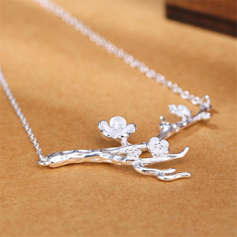 Original Design Natural Art Unice Genuine 925 Sterling Silver Plum Blossom Necklace Flowers For Women Jewelry Collares N218