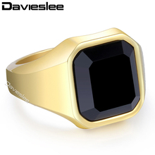 Davieslee Black CZ Mens Ring Gold Silver Tone 316L Stainless Steel Fashion Smooth Signet Wholesale Vintage Jewelry 16mm LHR373(China)