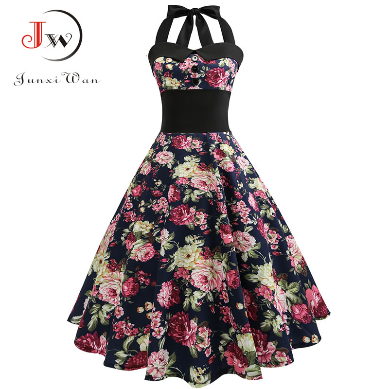 Women Vintage Dresses Plus Size Floral Print Pin Up Halter Summer Dress Retro 50s Rockabilly Sexy Party Dress Vestidos