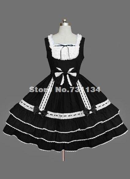 Vente Chaud Sans Livraison Robe Gratuite Noir L'été Manches Blanc Et Lolita y7bf6g