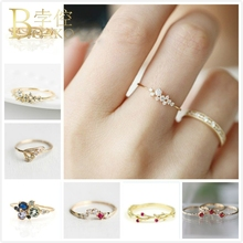 все цены на BOAKO Dainty Ring Zircon Crystal Rings For Women Engagement Bride Flower Ring Rose Gold Rattan Gem Stone anillos Girl Jewelry Z5 онлайн