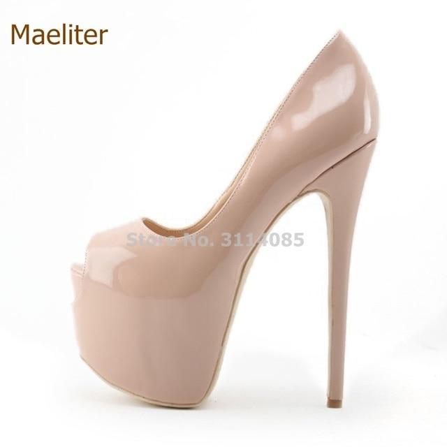 27bd404bc7b6 Nude Black Patent Leather Ultra High Heel Shoes 16cm Heel Wedding Shoes  Platform Stiletto Heels Open