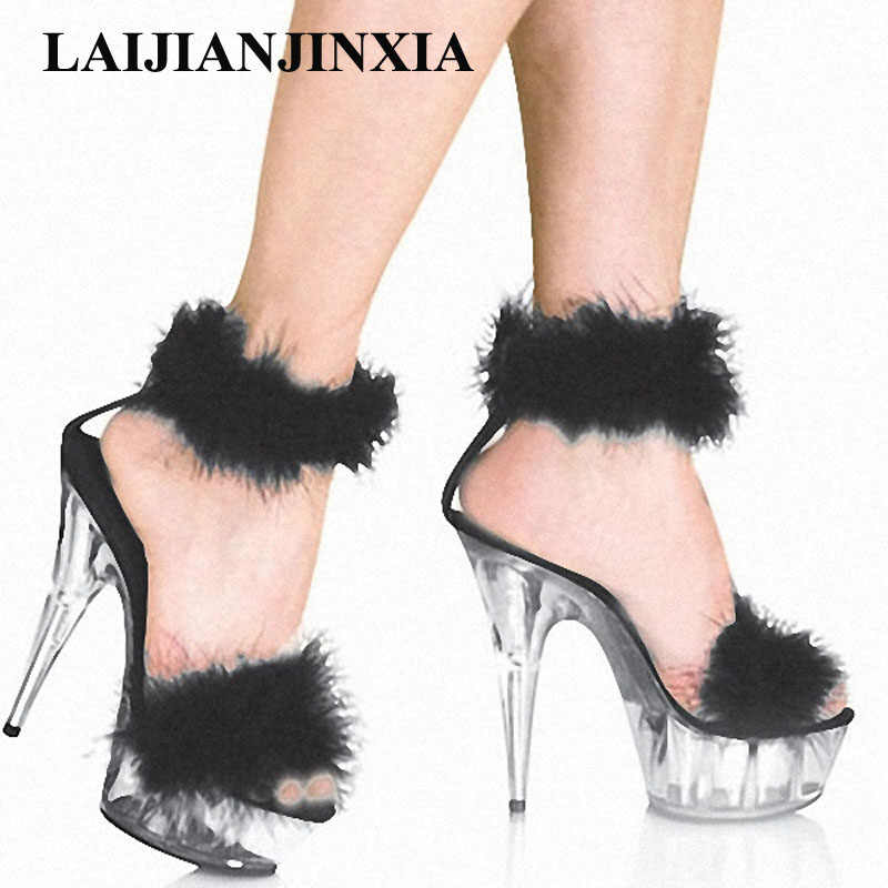 ab8cca31b LAIJIANJINXIA Sexy 15cm Women Nightclub Party Shoes Ultra High Heels  Platform Dancing Shoes Romantic Sandals Crystal