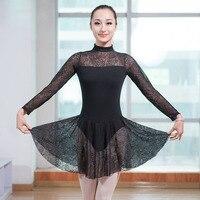 New Girls Turtleneck Lace Spliced Long Sleeve Ballet Dance Leotard Dress Women Adult Ladies Sexy Ballerina