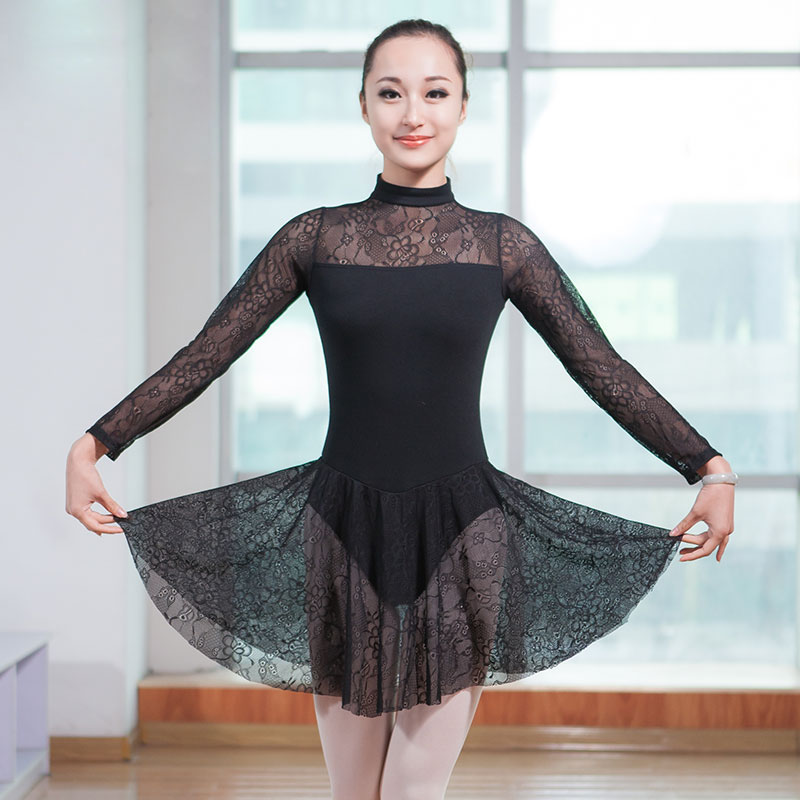 New Girls Turtleneck Lace Spliced Long Sleeve Ballet Dance -6718