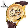 IK Vintage Gold Hollow Skeleton Watch Mens Steel Case Genuine Leather Strap Automatic Mechanical Watches Waterproof Style