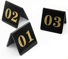 10PCS/LOT  8x8cm ( Number From1-10) Black Acrylic Table Plate Digital Restaurant Card