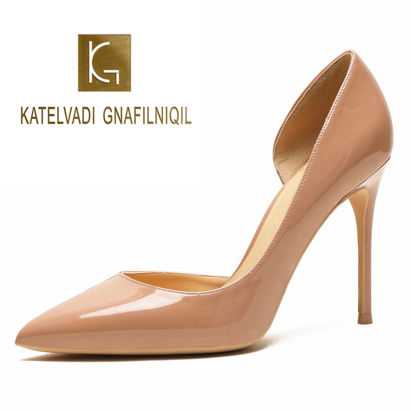 KATELVADI Sexy Women 10CM High Heel Shoes Nude Patent PU Fashion Ladies Extremely High Stilettos Pumps