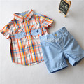 2015 Foreign trade quality Age 2-8 boys summer clothing Genuine Children boy plaid shirt shorts set 2 colors Blouse Trouser Sets