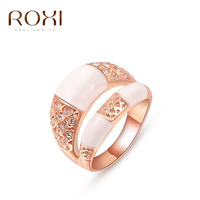 2017 ROXI Charms Ring White Opal Lucky Rhinestones Crystal Double Rings Rose Gold Wedding Jewelry Gift Wholesale