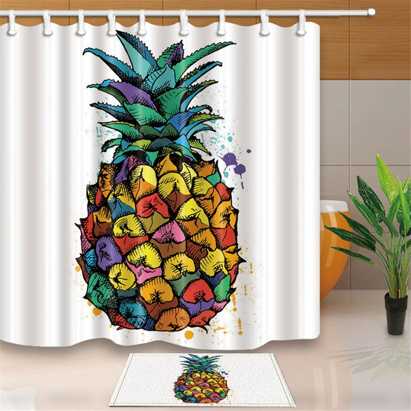 Pineapple Pattern Print Polyester Fabric Shower Curtain Bath Mat For Home Bathroom Decorative Bath Curtains