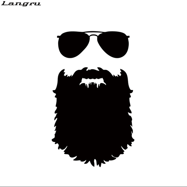 Langru beard sticker funny personality car styling glasses vinyl decal mustache hipster nerd accessories jdm