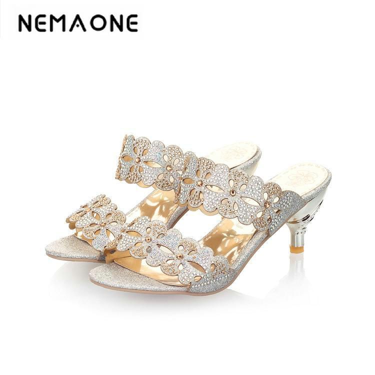 plus size 2018 Summer Women Slides Rhinestone Sandals high heels Slipper summer shoes Woman Sequined Slip on Sandalis exotic chinese retro totem embroidery shoes woman canvas flat heel mules cool fish warping slip on slipper casual slides size 41