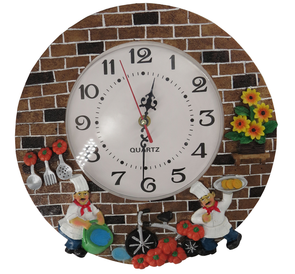 Hankroi Mute Resin Wall Clock 12 inches Diameter Three Dimensional Hand painted Quite Kitchen Theme Living
