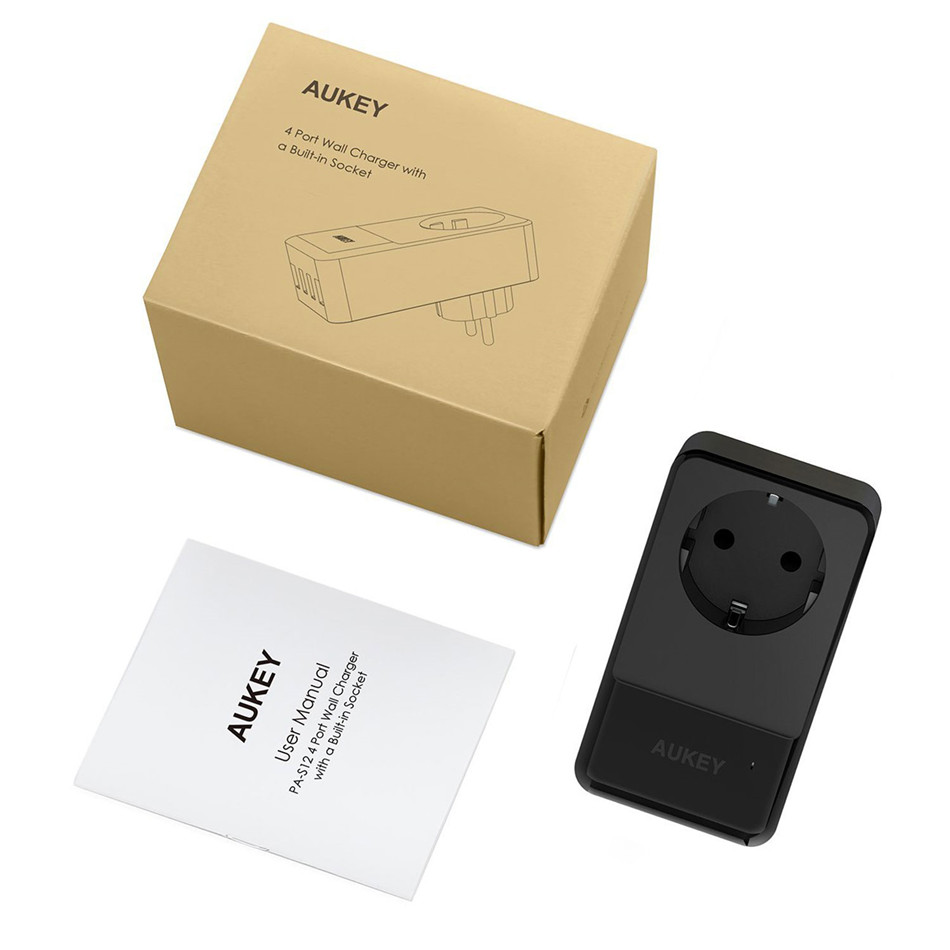 AUKEY 4 Ports Mini USB Charger 16A Wall Socket Charger + 30W 4 Smart USB Mobile Phone Fast Charger for iPhone X Samsung Xiaomi